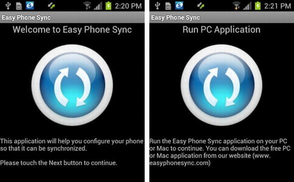 Easy Phone sincronizacion