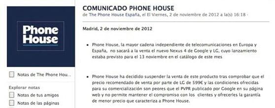 comunicado-the-phone-house-venta-nexus-4 thumb