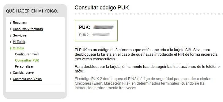 recuperar el PUK de la SIM de Yoigo