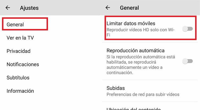 limitar datos en youtube para android