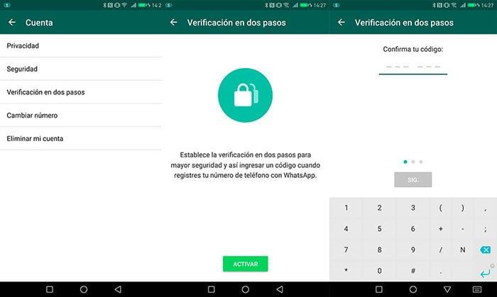 Como activar la verificación en dos pasos en WhatsApp