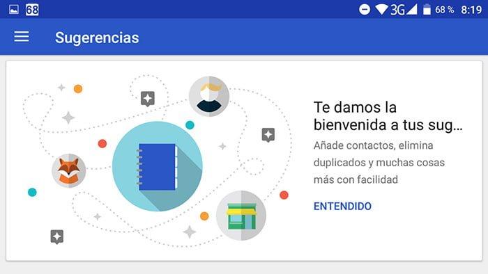 contactos de Google sugerencias