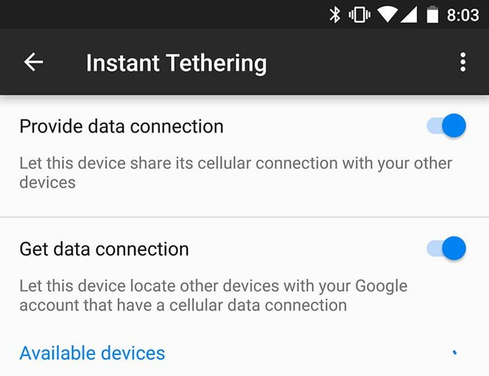 instant tethering