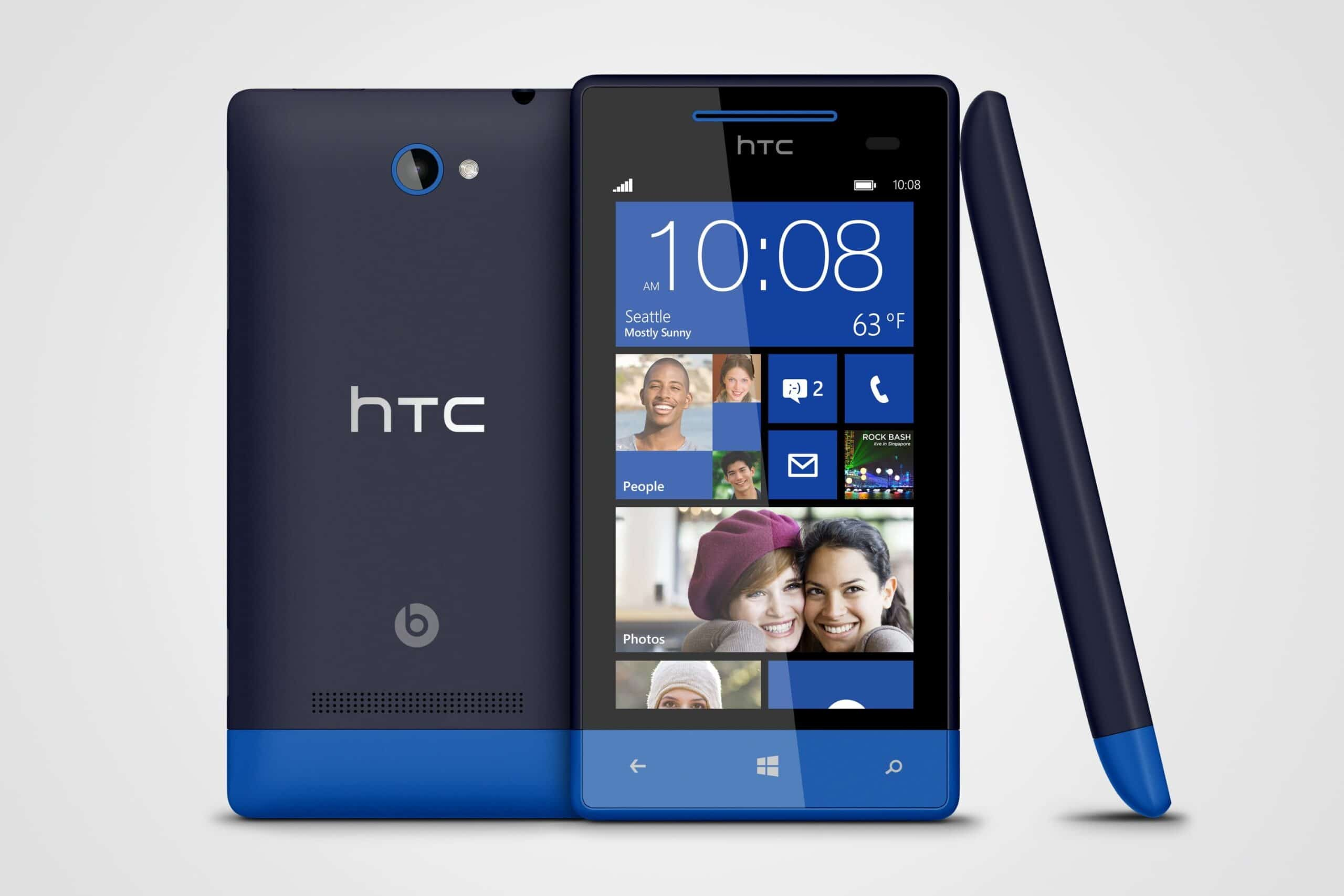 WP 8S by HTC Atlantic Blue 3views baja