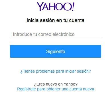 pantalla de inicio de sesión en yahoo.com