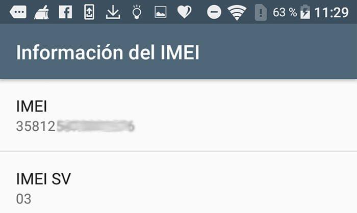 Acceder al código IMEI desde los ajustes