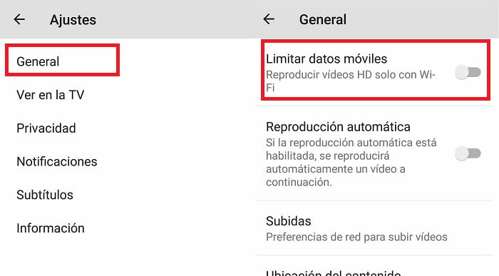 limitar datos en youtube para android