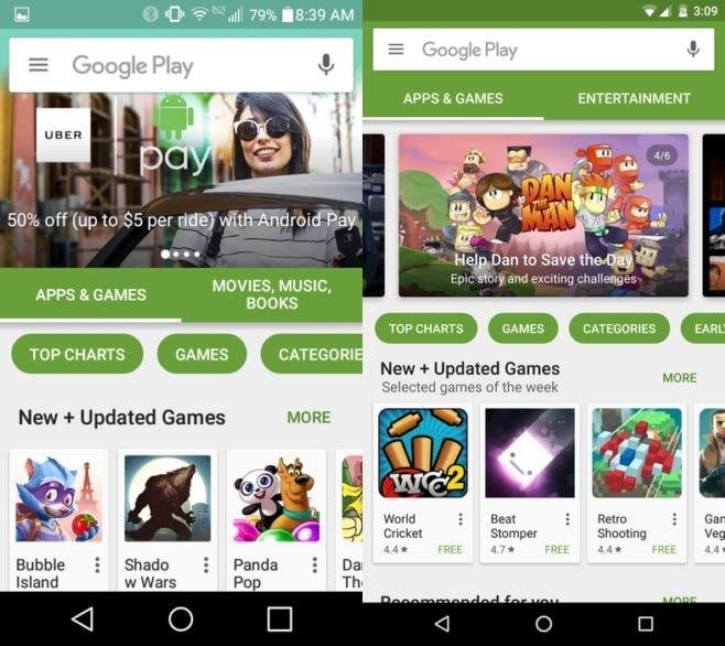 novedades en la interfaz de google play