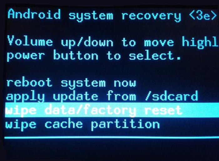 recovery android factory reset