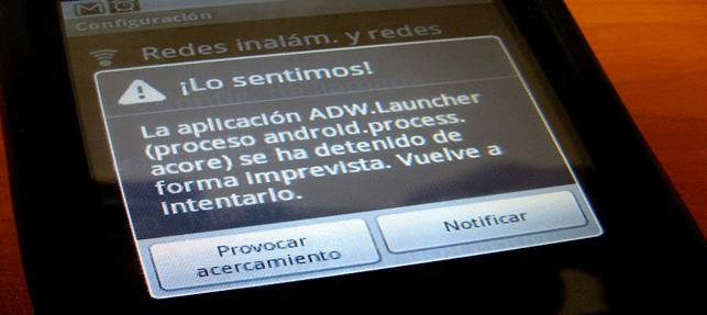 """Solución al error de """"Se ha detenido la aplicación ..."""" en Android"""