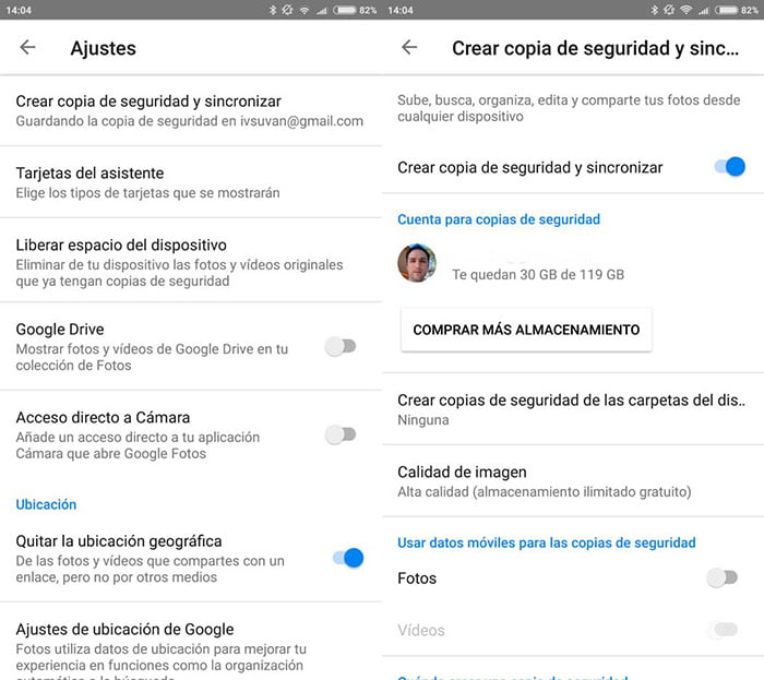 google fotos copia de seguridad imagenes