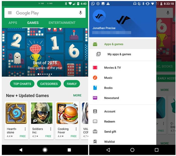 google play apps juegos separados