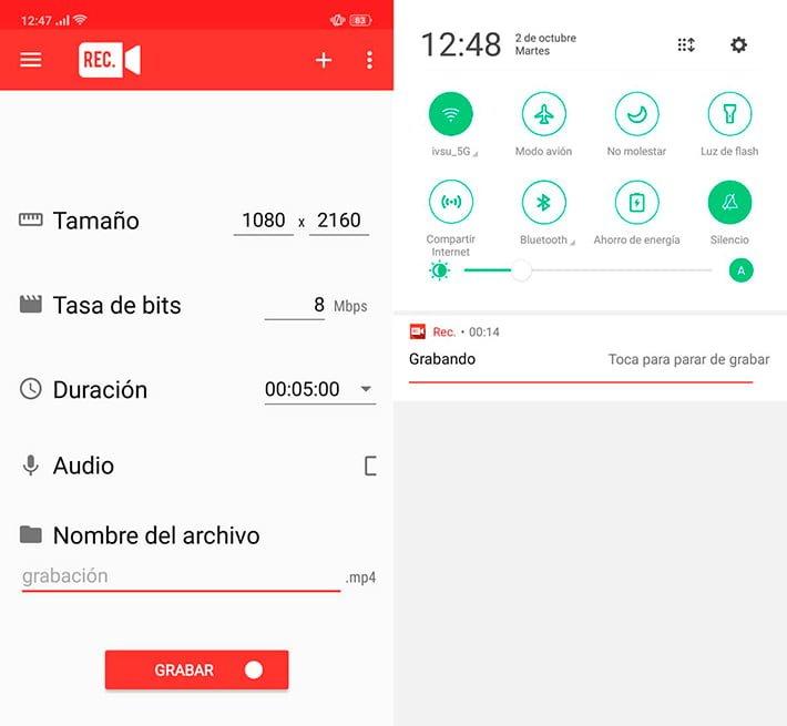 rec grabar pantalla Android