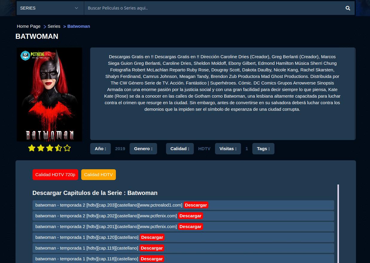 Pctnew, una página para descargar series de TV y películas